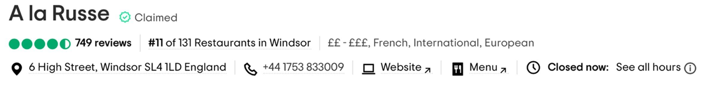 TripAdvisor listing screenshot