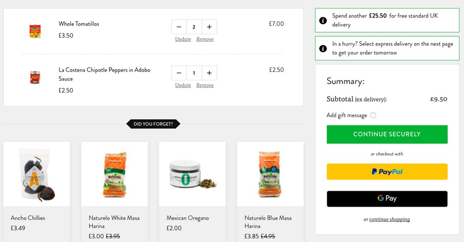 Payment checkout example