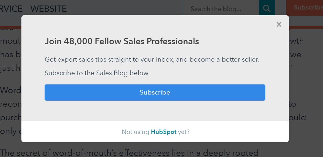 HubSpot subscribe popup
